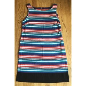 LOFT Shift Dress Striped Red White Blue Size 12